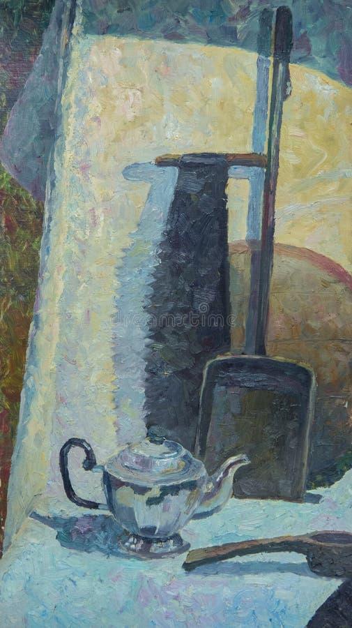 Wciąż życie pisać w oleju Kraj zobaczył i kruszcowy czajnik na brown draperii royalty ilustracja