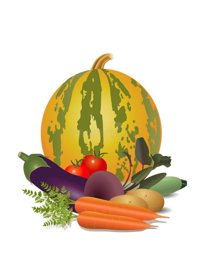 Wciąż życie różni warzywa ilustracja wektor