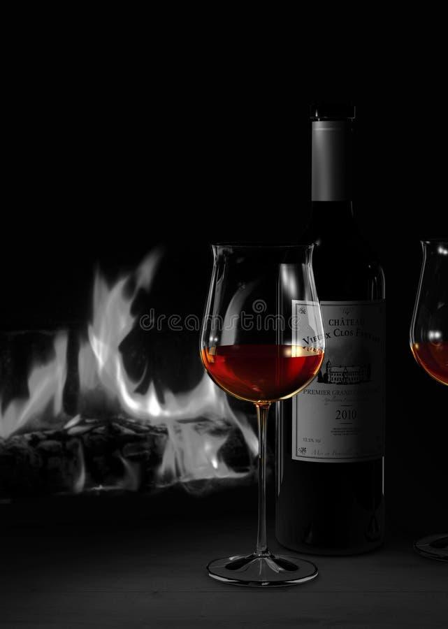 Wciąż życie w dupleksów kolorach pokazuje szkło i butelkę czerwone wino przed wygodnym pożarniczym miejscem ilustracja wektor
