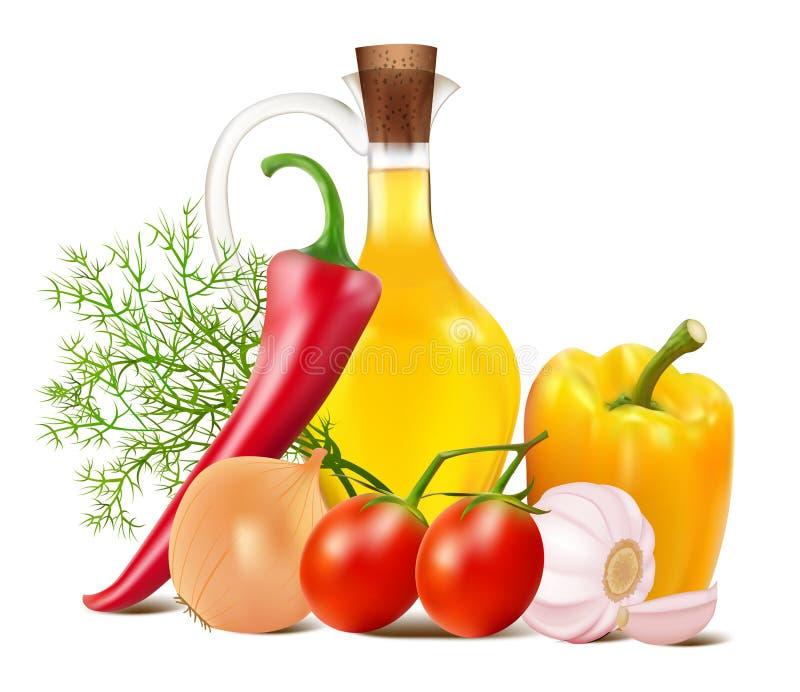 Wciąż życie w warzywach i jarzynowym oleju royalty ilustracja
