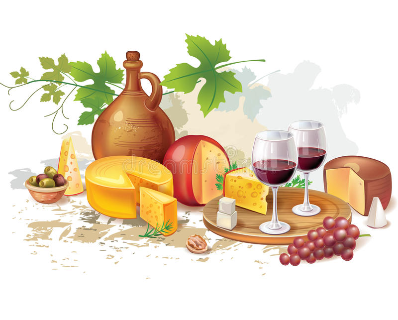 Wciąż życie wino, ser i winogrona, royalty ilustracja