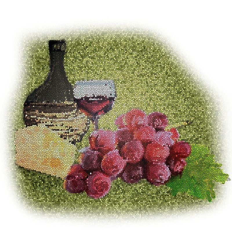 Wciąż życie winogrono sera wino ilustracji
