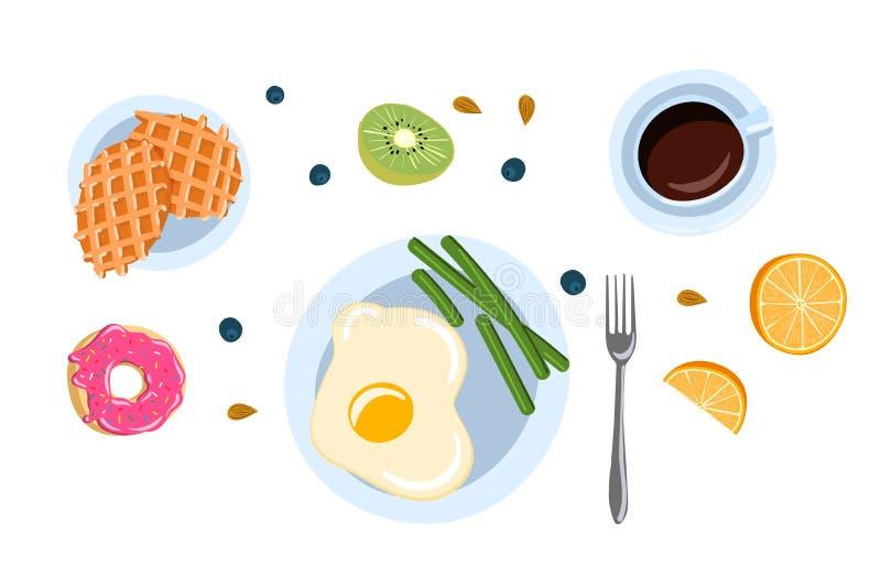 Wciąż życie z śniadaniem w płaskiej doodle stylu odgórnego widoku wektoru ilustracji ilustracji