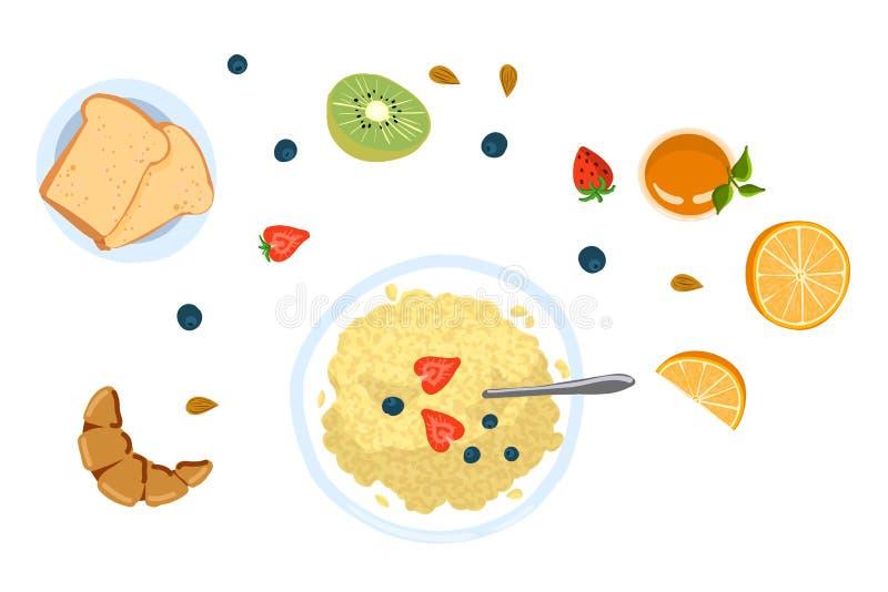 Wciąż życie z śniadaniem w płaskiej doodle stylu odgórnego widoku wektoru ilustracji royalty ilustracja