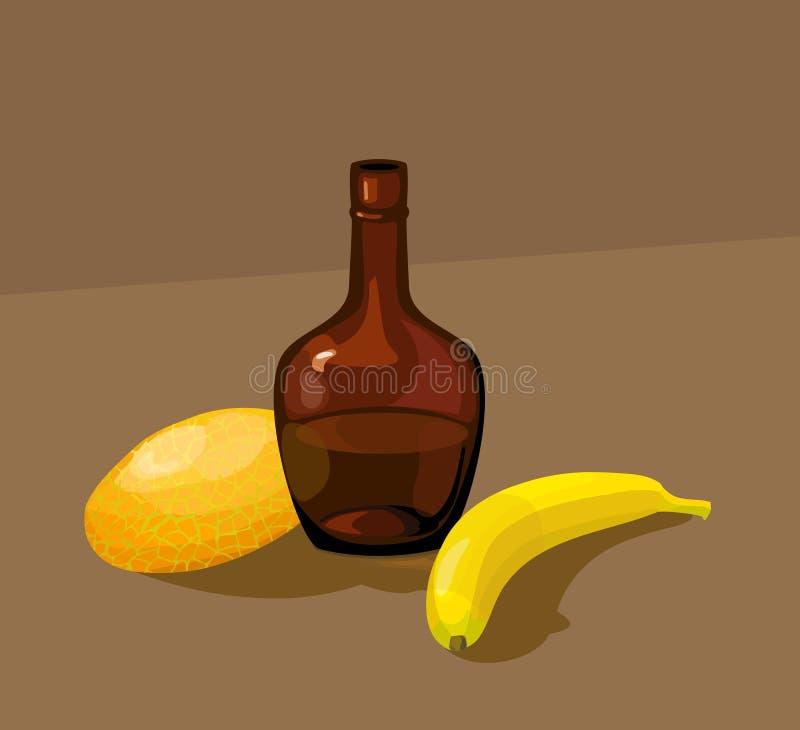 Wciąż życie z żółtym melonem, butelką i bananem, ilustracji