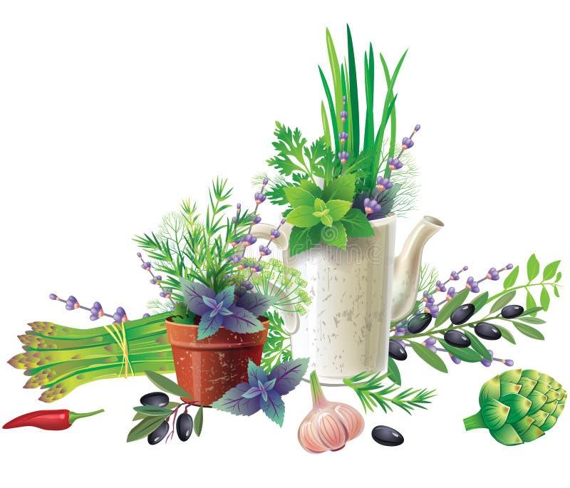 Wciąż życie z aromatycznymi ziele w garnkach i warzywach royalty ilustracja
