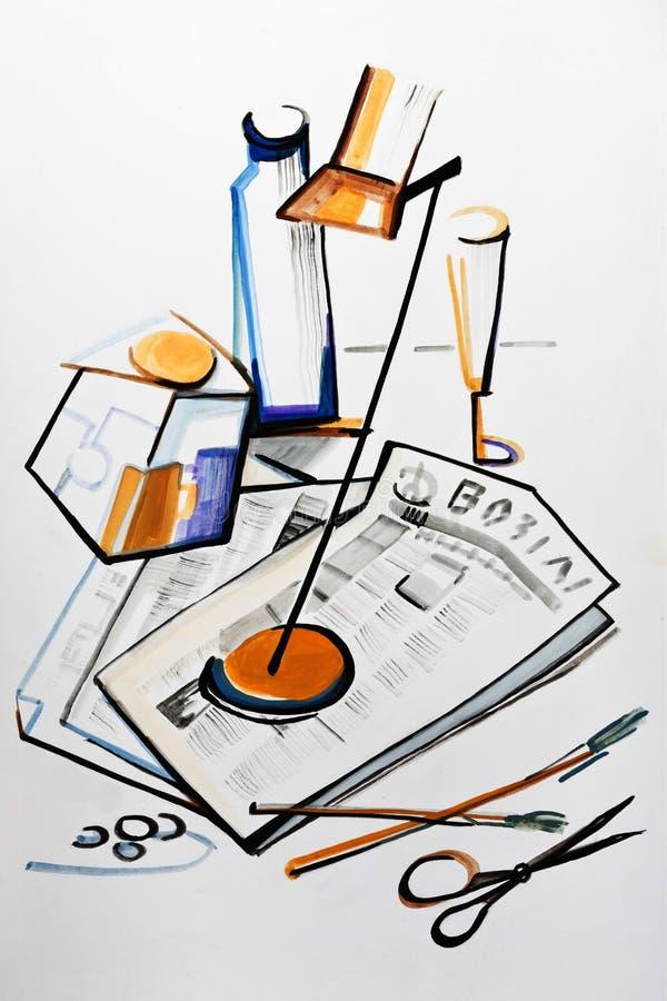 Wciąż życie z biurko lampą ilustracji