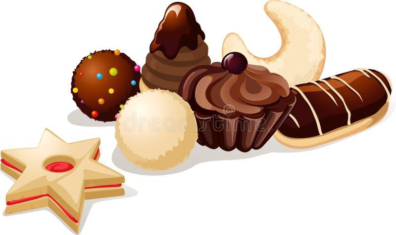 Wciąż życie z bożych narodzeń ciastkami royalty ilustracja
