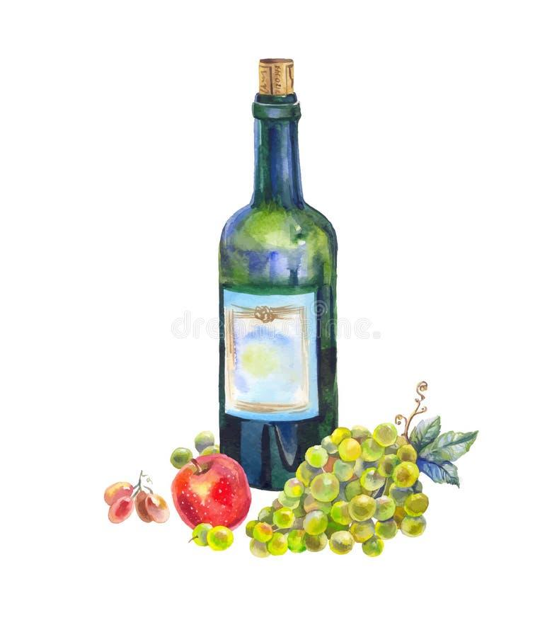 Wciąż życie z butelką wino, winogrona i jabłko w akwareli, royalty ilustracja
