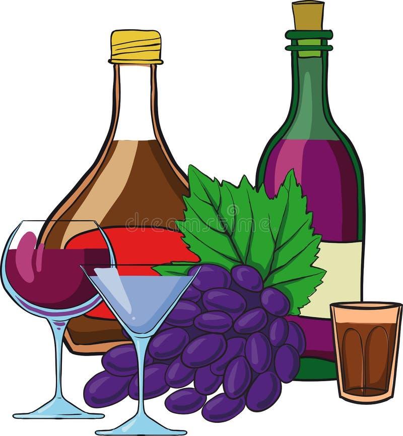 Wciąż życie z butelkami wino ilustracja wektor