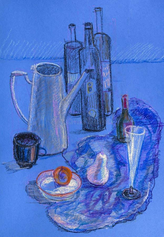 Wciąż życie z coffeepot royalty ilustracja