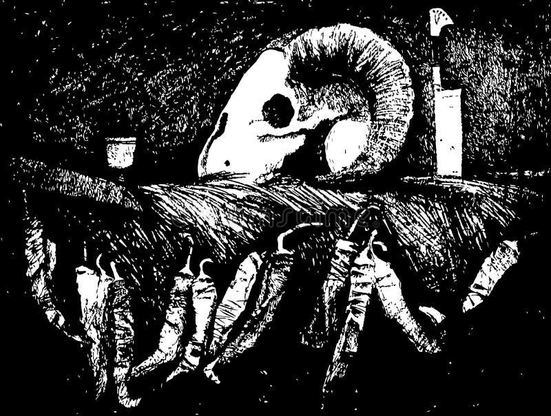 Wciąż życie z czaszką i suszy pieprze remisu ręki papieru watercolours ilustracji