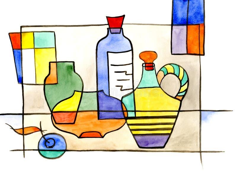 Wciąż życie z dzbankiem, butelką i wazą, royalty ilustracja