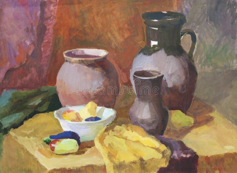 Wciąż życie z glinianym garncarstwa i warzyw guaszu obrazem ilustracja wektor