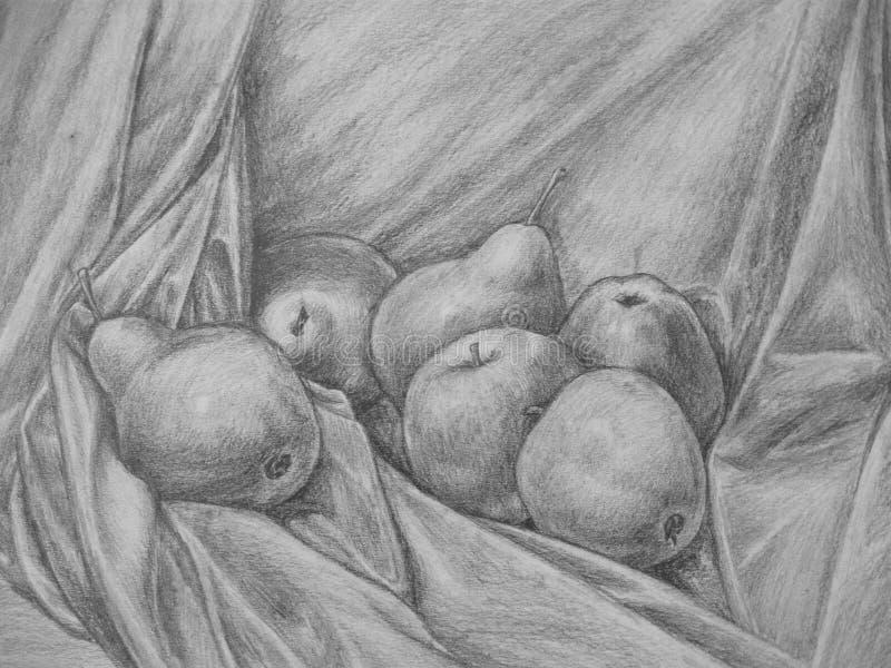 Wciąż życie z jabłka i bonkrety †'ołówkowym rysunkiem ilustracji