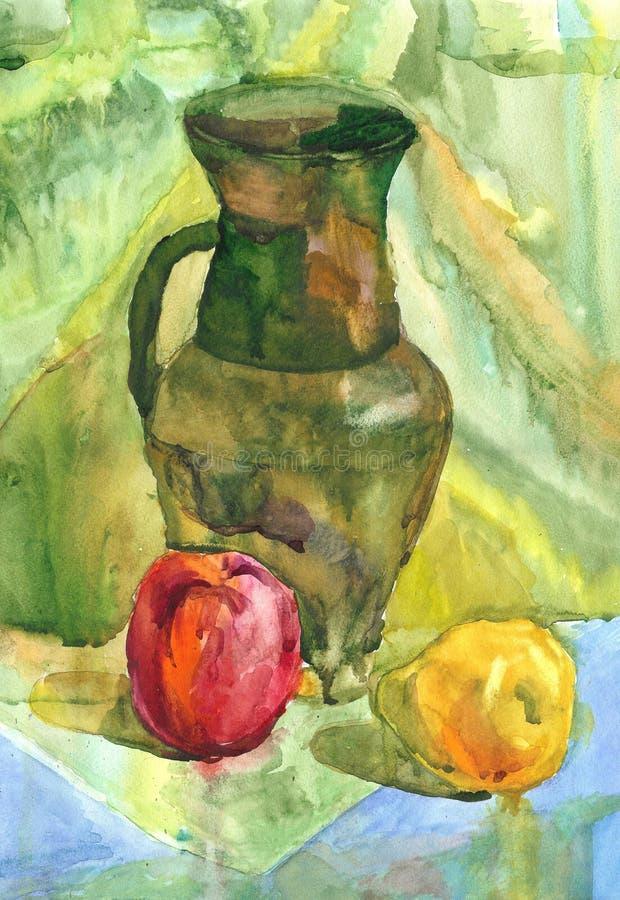 Wciąż życie z jabłkiem, dzbankiem i bonkretą, akwarela obraz ilustracji