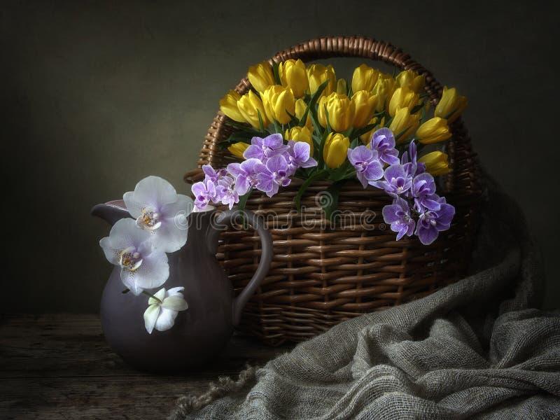 Wciąż życie z koszem purpurowi orchidea kwiaty i żółci tulipany fotografia stock