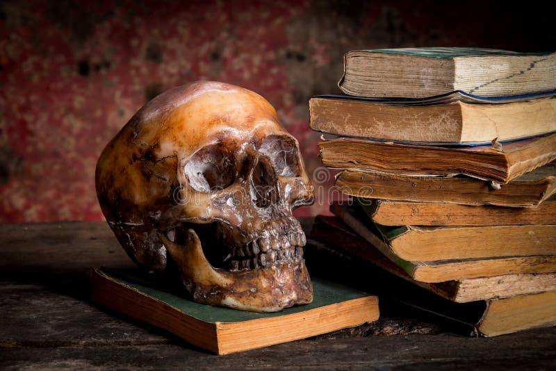 Wciąż życie z książką i czaszką zdjęcia stock