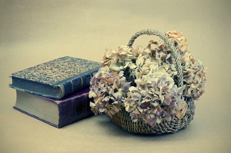Wciąż życie z książkami i kwiatami obraz royalty free