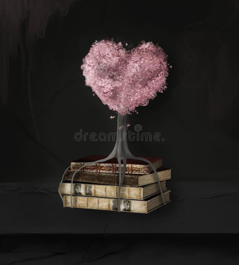 Wciąż życie z książkami palowymi i drzewnym sercem royalty ilustracja