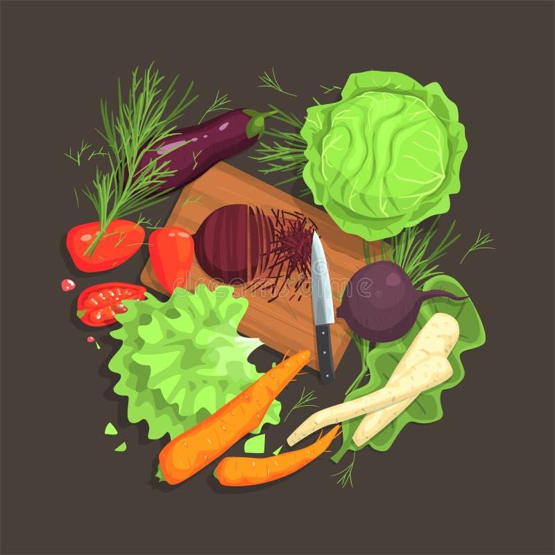 Wciąż życie Z Kulinarnymi składnikami Dla Świeżej Jarskiej sałatki Z Surowych I Świeżych warzyw miejscami Wokoło Tnącej deski ilustracja wektor