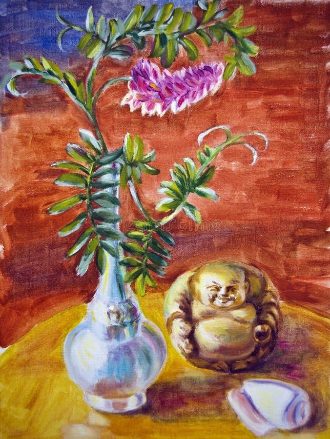 Wciąż życie z kwiatami i idolem ilustracji