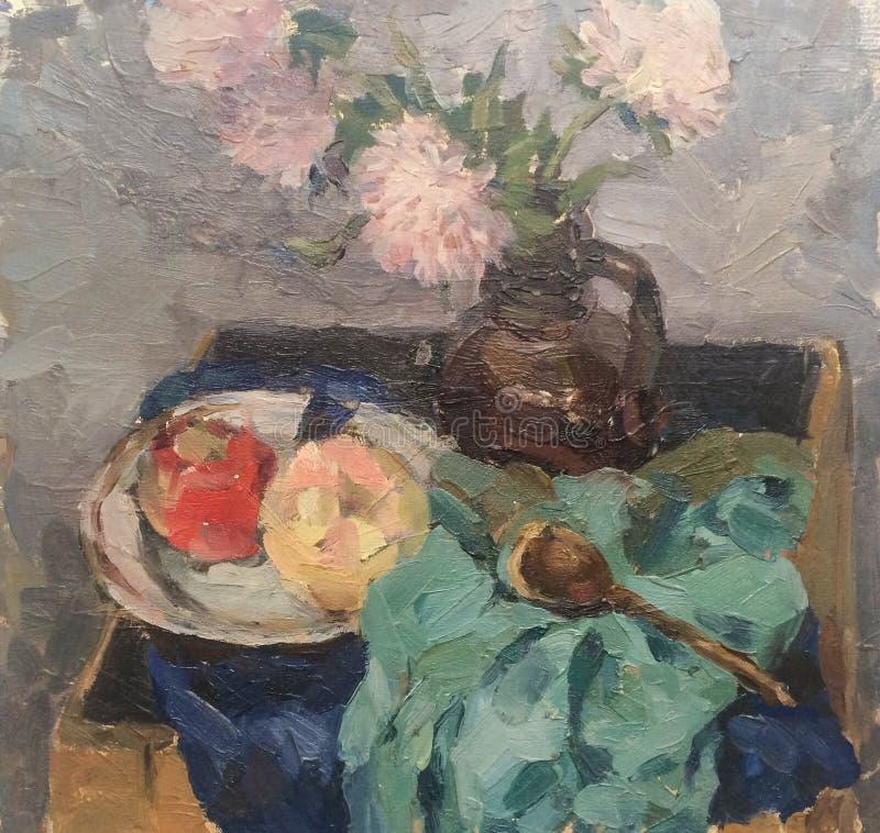 Wciąż życie z kwiatami i owoc ilustracji