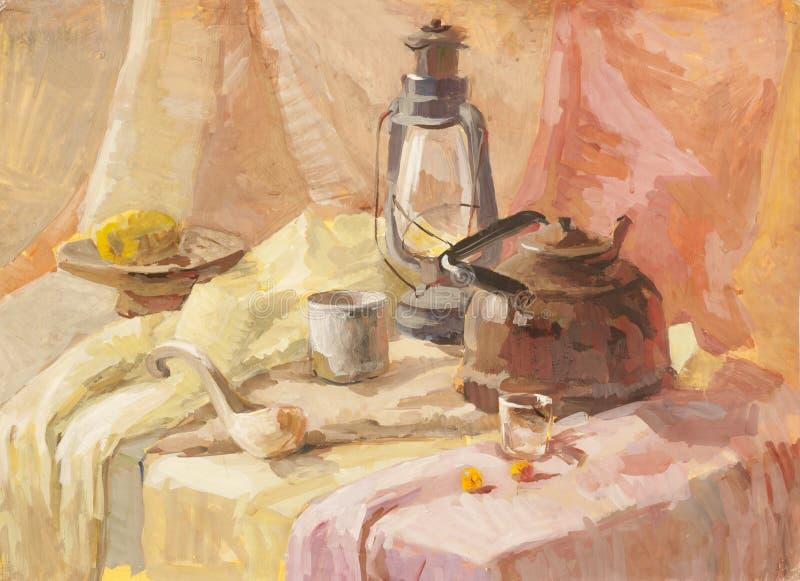 Wciąż życie z lampionem, teapot i drewnianym łyżkowym guaszem, ilustracji
