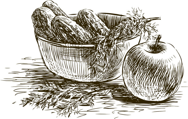 Wciąż życie z ogórkami i jabłkiem royalty ilustracja