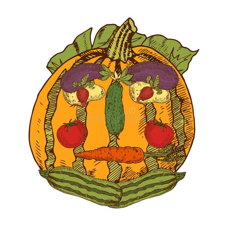 Wciąż życie Z Ogrodowymi warzywami W twarzy ludzkiej ilustracja wektor