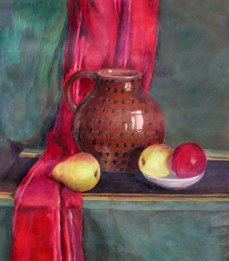 Wciąż życie z owoc i garnkiem ilustracja wektor