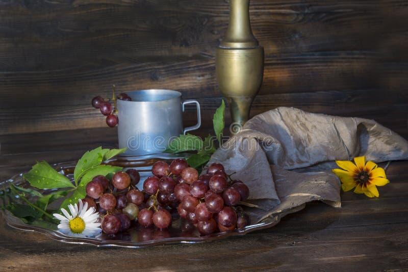 Wciąż życie z retro filiżanką, waza i winogrona zdjęcia royalty free