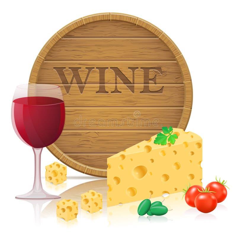 Wciąż życie z sera i wina wektoru illustratio royalty ilustracja