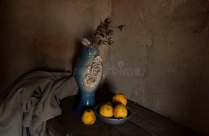 Wciąż życie z starymi rzeczami i spalonymi jabÅ'kami zdjęcie royalty free