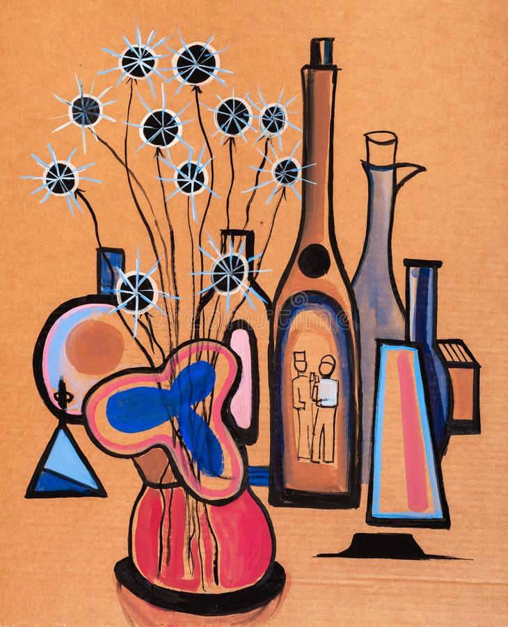 Wciąż życie z wazą i suszy kwiaty ilustracji