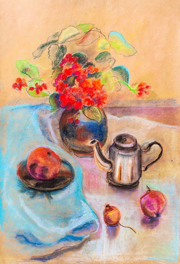 Wciąż życie z wazy i czerwieni kwiatami ilustracji