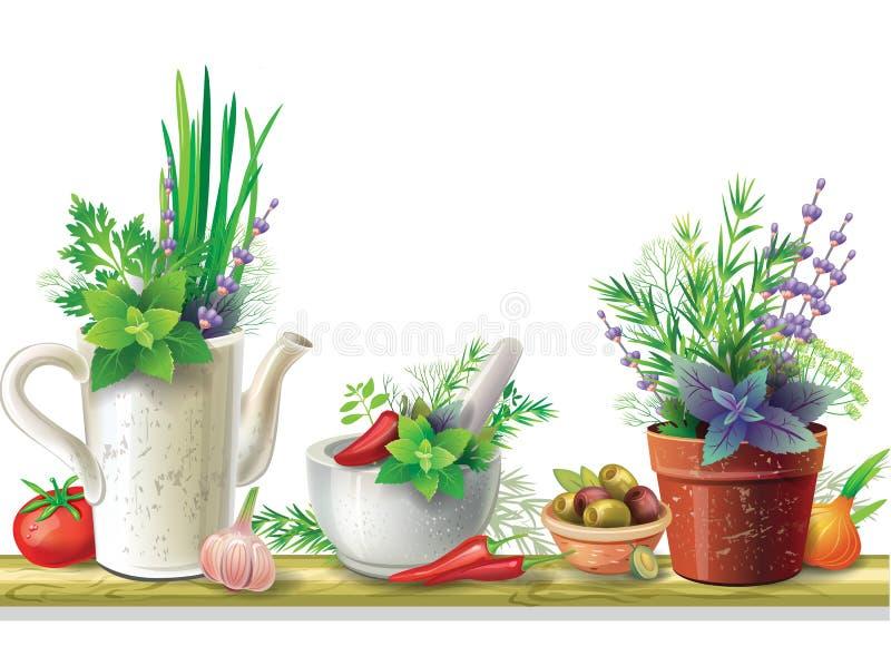 Wciąż życie z ziele ilustracji