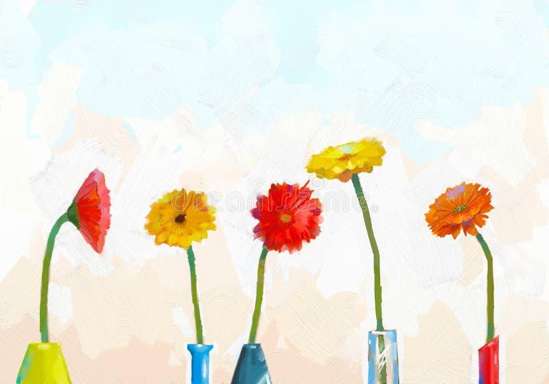 Wciąż kwitnie obraz olejnego życie waza z gerbera royalty ilustracja