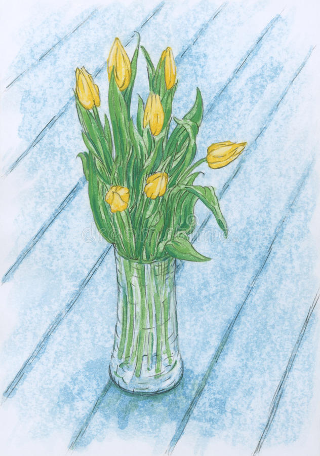 Wciąż kwitnie w szklanej wazie życie z żółtym tulipanem ilustracja wektor