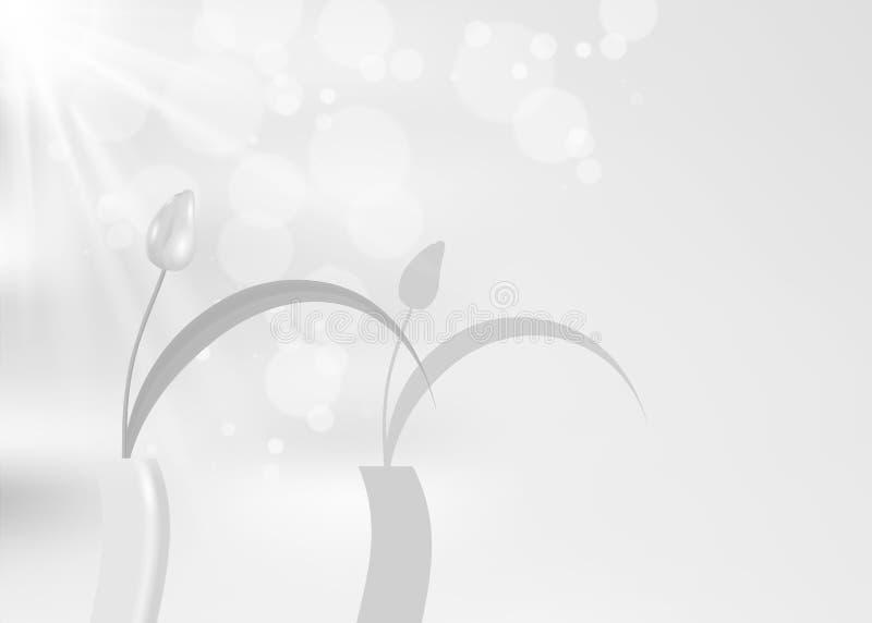 Wciąż ocienia przeciw jaskrawemu życie tulipanowy kasting siwieje barwionego tła czarny i biały, wektorowego moda projekt monochr royalty ilustracja