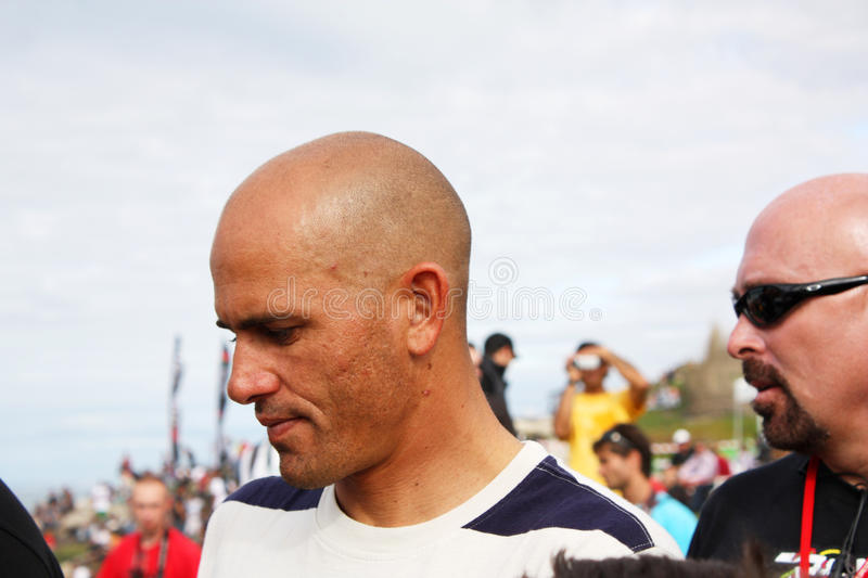 WCT Rip Curl Pro Search 2009 in Peniche. Kelly Slater, 9x ASP world champion, giving autographs royalty free stock photo