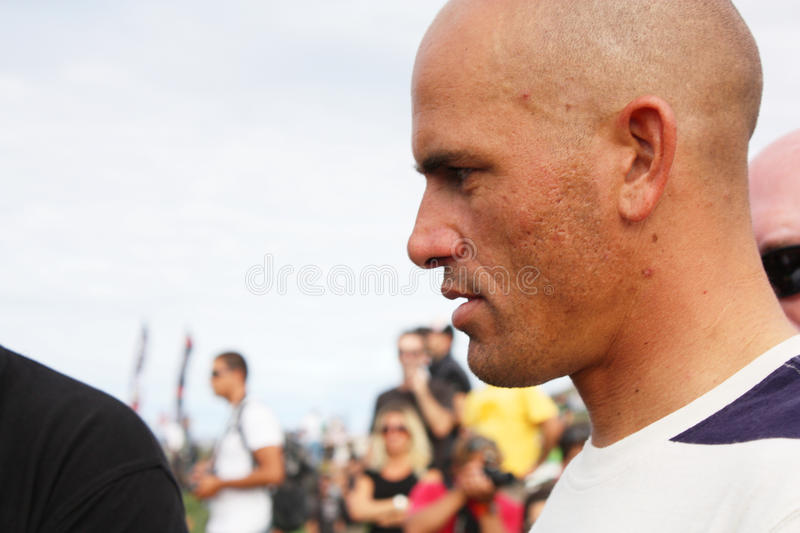 WCT Rip Curl Pro Search 2009 in Peniche. Kelly Slater, 9x ASP world champion, giving autographs royalty free stock photography