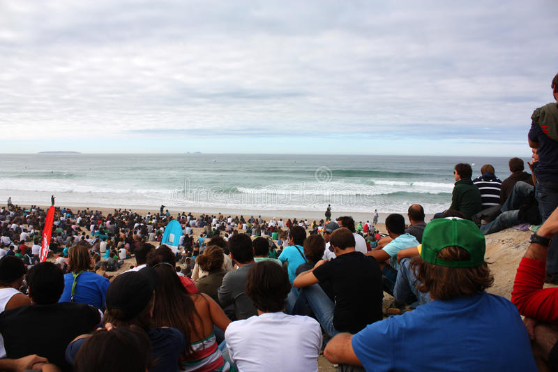 WCT Rip Curl Pro Search 2009 in Peniche. Crowd watching the event stock photography