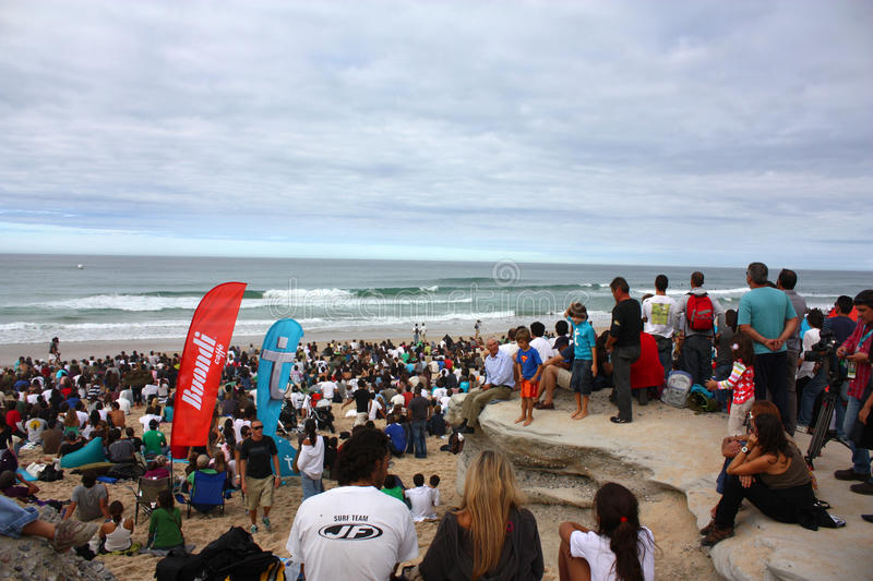 WCT Rip Curl Pro Search 2009 in Peniche. Crowd watching the event royalty free stock images