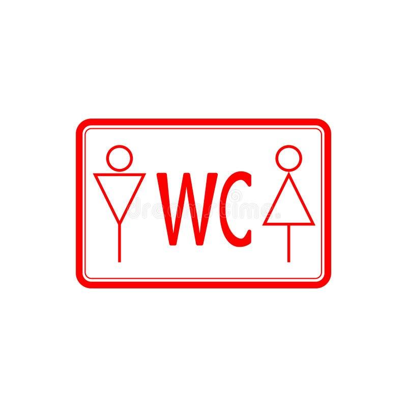 WCtoilet ikony czerwieni cienka linia na białym tle, mężczyźnie i kobiecie, - wektorowa ilustracja ilustracji