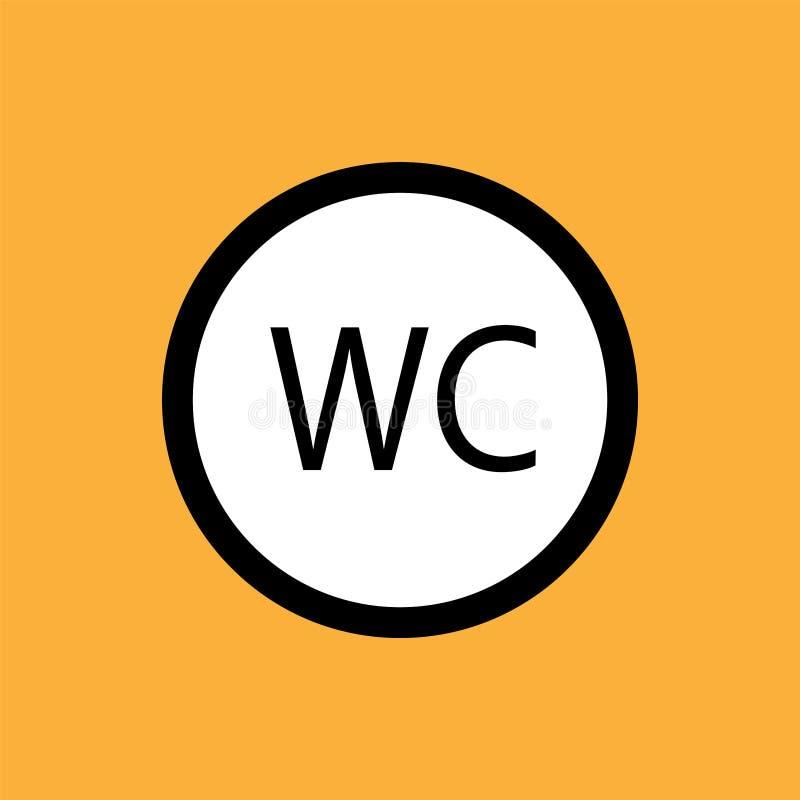 WCtoilet round ikona, czerni cienka linia na białym tle - eps dziesięć ilustracja wektor
