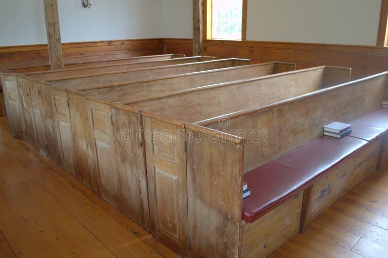 Wczesna Amerykańska Kościelna ławka obrazy royalty free