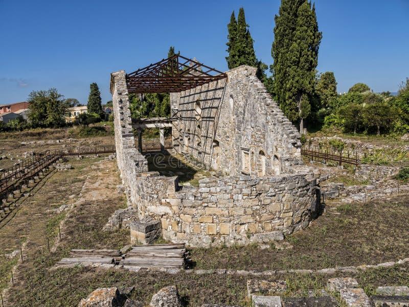 Wczesna Chrześcijańska bazylika święty Kerkyra na Greckiej wyspie Corfu obrazy royalty free