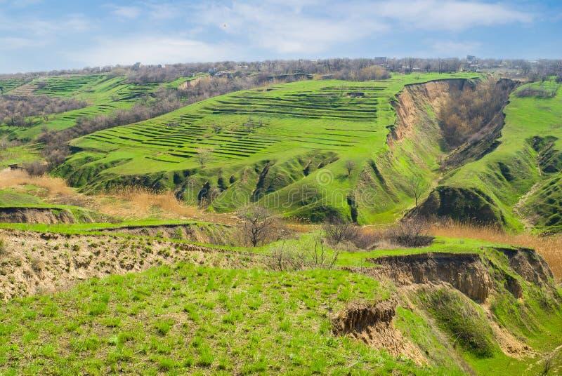 wczesna erozi krajobrazu ziemi wiosna fotografia royalty free