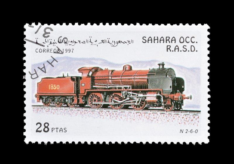 Wczesna lokomotywa na znaczku zdjęcie royalty free